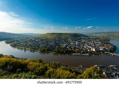 Moselschleife, Germany.Mosel river bend panorama
