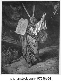 Moses comes down from the mountain with the tablets of Law - Picture from The Holy Scriptures, Old and New Testaments books collection published in 1885, Stuttgart-Germany. Drawings by Gustave Dore.