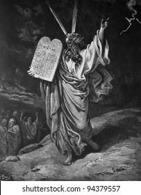 Moses and the commandments. 1) Le Sainte Bible: Traduction nouvelle selon la Vulgate par Mm. J.-J. Bourasse et P. Janvier. Tours: Alfred Mame et Fils. 2) 1866 3) France 4) Gustave Doré