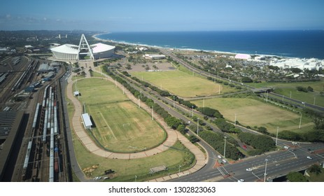 Moses Mabhida Stadium and Peoples Park Aerial View
