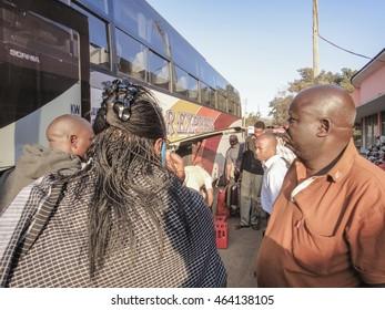 MOSHI/TANZANIA - SEPTEMBER 10 2013: Moshi town bus station in Tanzania
