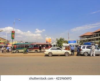 MOSHI/TANZANIA - SEPTEMBER 8 2013: Streets of Moshi town in Tanzania near Kilimanjaro mountain. Eastern Africa