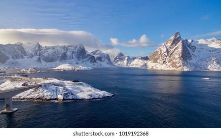 Toppøya in Moskenes, Lofoten a sunny february day with blue sky