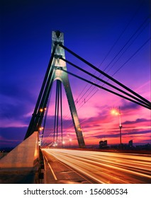 """The Moskovskyi (""""Moscow"""") Bridge  is a structure in Kiev, Ukraine, built in 1976. It is a cable-stayed bridge, designed by the architect A.V.Dobrovolsky and an engineer by G.B.Fux, with the beam"""
