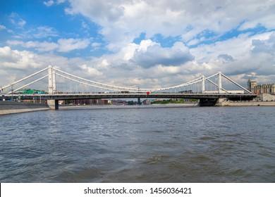 Moskow (Moskva) River and Krymsky Bridge or Crimean Bridge, Russia (day)
