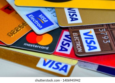 Moskow, Russia: march 17. 2018 - Visa Plastic bank cards. Credit and debit cards concept