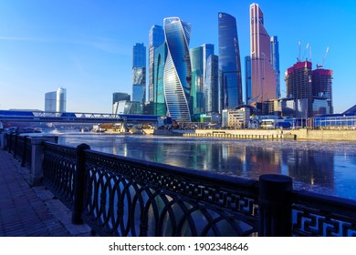 Moskva river embankment and skyscrapers of the Moscow-City business center. December 12, 2020
