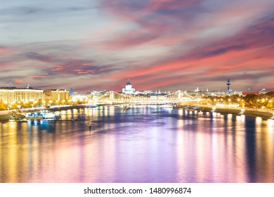 Moskva River and embankments (at night). Moscow, Russia