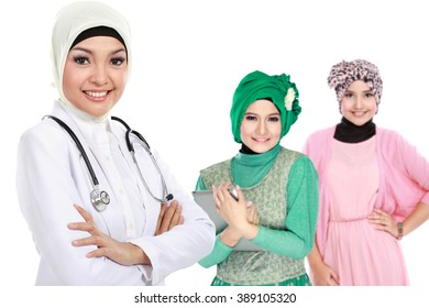 moslem medical doctor wearing scarf. patient at the background