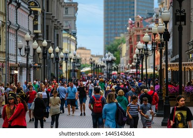 Mosocw, Russia - June, 27, 2019: crowd of people on Arbat street in Moscow