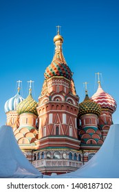 MOSOW, RUSSIA, MAY 19, 2019: St. Basil's Cathedral on Red Square in Moscow, Russia