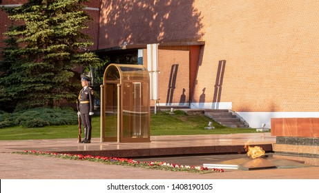 MOSOW, RUSSIA, MAY 19, 2019: The Tomb of the Unknown Soldier contains the remains of one soldier who died in December 1941- Moscow, Russia