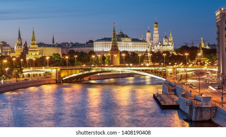 MOSOW, RUSSIA, MAY 20, 2019: View on the Kremlin from the Patriarshy Bridge. The bridge is a steel pedestrian box girder bridge that spans Moskva River and Vodootvodny Canal - Moscow, Russia