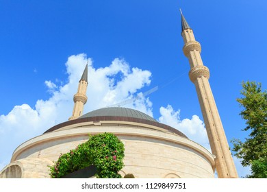Mosque against the blue sky in Kemer, Turkey