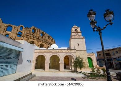 Mosque and amphitheatre of El Jem, Tunisia.