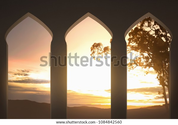 Mosque arch with beutiful sunset view