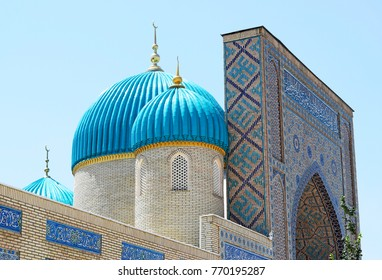 Mosque  with beautiful turquoise domes on minarets.