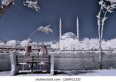 mosque cami camii minaret infrared photo church cathedral with snowy trees two woman river religion religious
