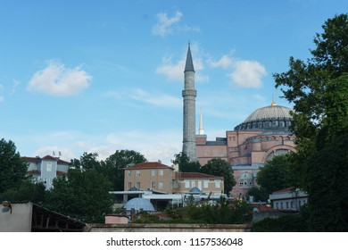 Mosque, Cathedral and Museum Hagia Sophia in the historical center of Istanbul. Walking around Istanbul and the view from the roof of the historic sights Ayasofya. Saint Sophie Cathedral  in Istanbul.