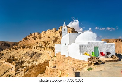 Mosque at Chenini, a a fortified Berber village in Tataouine Governorate, Southern Tunisia