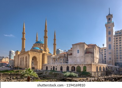 A mosque and a church together in Beirut, capital of Lebanon in a blue sky day