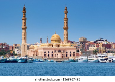 Mosque  and city port - Hurghada, Red  Sea, Egypt