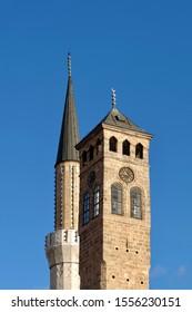 Mosque and clock tower in Sarajevo, Bosnia and Herzegovina