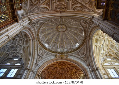 Mosque of Cordoba, Spain - February 09 2019:  Art and Arquitecture of Cordoba Mosque, a combination of two different cultures, religion through time and history: Muslim and Catholic.