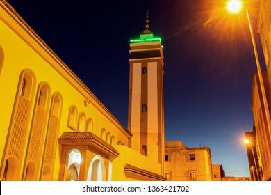 Mosque in Dakhla at night. Dakhla, Western Sahara, Morocco.