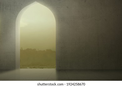 Mosque door with a dramatic sky background