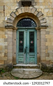 Mosque doorway with star and crescent moon symbols in hillside village of Yesilyurt, Malatya, Turkey - November 11, 2012