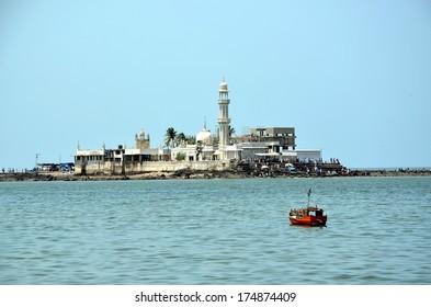 Mosque Haji Ali in Mumbai; Mosque was built in 1431 in memory of a rich Muslim merchant