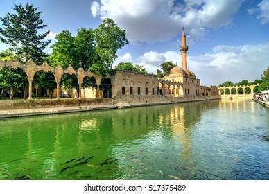 Mosque of Halil-ur-Rahman Reflection on Abraham's Pool, Urfa, Turkey
