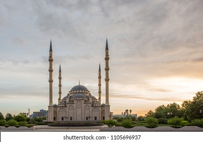 "Mosque ""Heart of Chechnya"" against the backdrop of a beautiful sky at dawn"