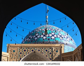 A mosque in Iran, beautiful Persia.Architectural ensemble of Imam Zadeh Jafar Shrine with rich Islamic patterns of azure tile, brickwork and plaster details in Yazd, Iran