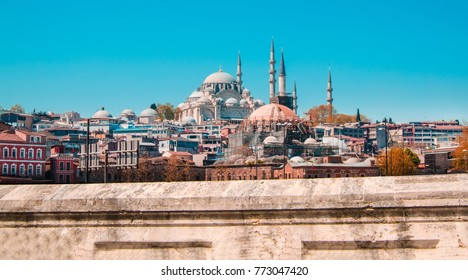 Mosque in Istanbul, Turkey. Architectural monument. Center of Islam. Cami. Mescit. Sky and clouds on the background