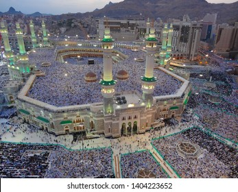 Mosque Kaaba, Mecca. The largest mosque in the world, Kaaba. At the same time 4 million muslim pilgrims are worshiping. Mecca, Saudi Arabia. September 10, 2018