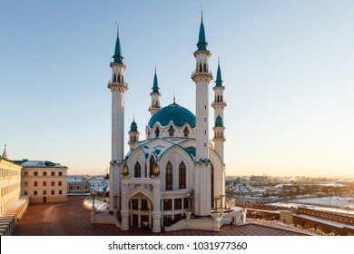mosque kul sharif in the rays of sunset, Kazan Tatarstan
