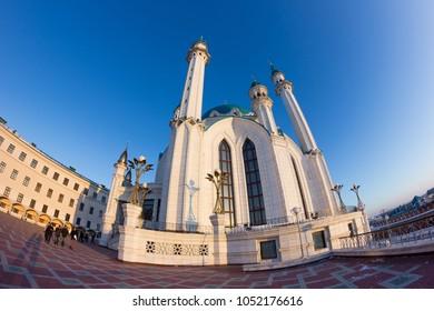 Mosque kul sharif in the rays of sunset, Kazan Tatarstan. Fisheye view