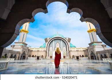 Mosque Masjid Wilayah Persekutuan with Muslim pray in Malaysia, Malaysian muslim with mosque religion concept