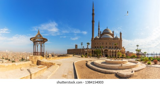 Mosque of Muhammad Ali in the Citadel of Cairo, Egypt, panoramic view