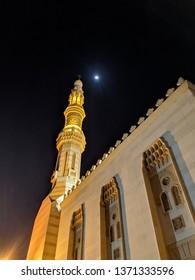 Mosque night view, Dubai Mosque, Islamic Prayer Place