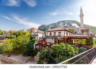 Mosque and old buildings in Mostar, Bosnia