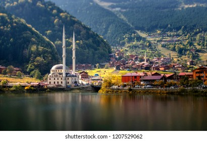 Mosque on the mountain lake Uzungol, Trabzon, Turkey