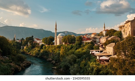 mosque and river neretva in Mostar Bosnia and Hercegovina