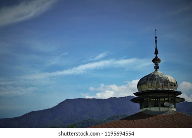 a mosque rooftop at minang village, west sumatra, indonesia