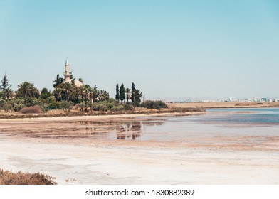 A mosque at a salt lake in Larnaca, Cyprus