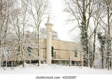 Mosque in the snow in Nijkerk the Netherlands
