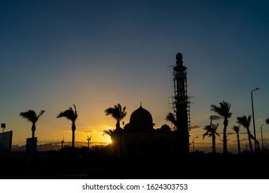 Mosque Sunset in the Egyptian Desert
