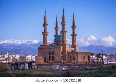 Mosque in Tripoli, Lebanon. Mosque in twilight